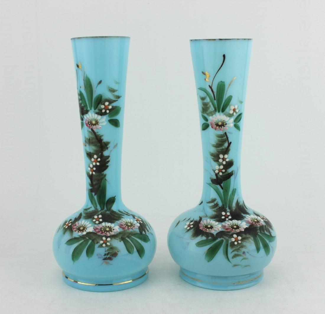 A PAIR OF 19TH C  HAND PAINTED GLASS VASES