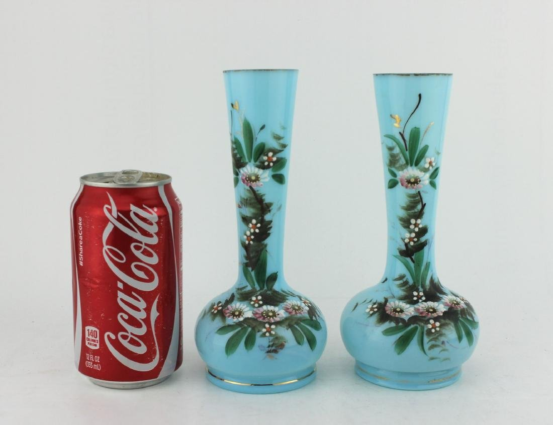 A PAIR OF 19TH C  HAND PAINTED GLASS VASES - 2