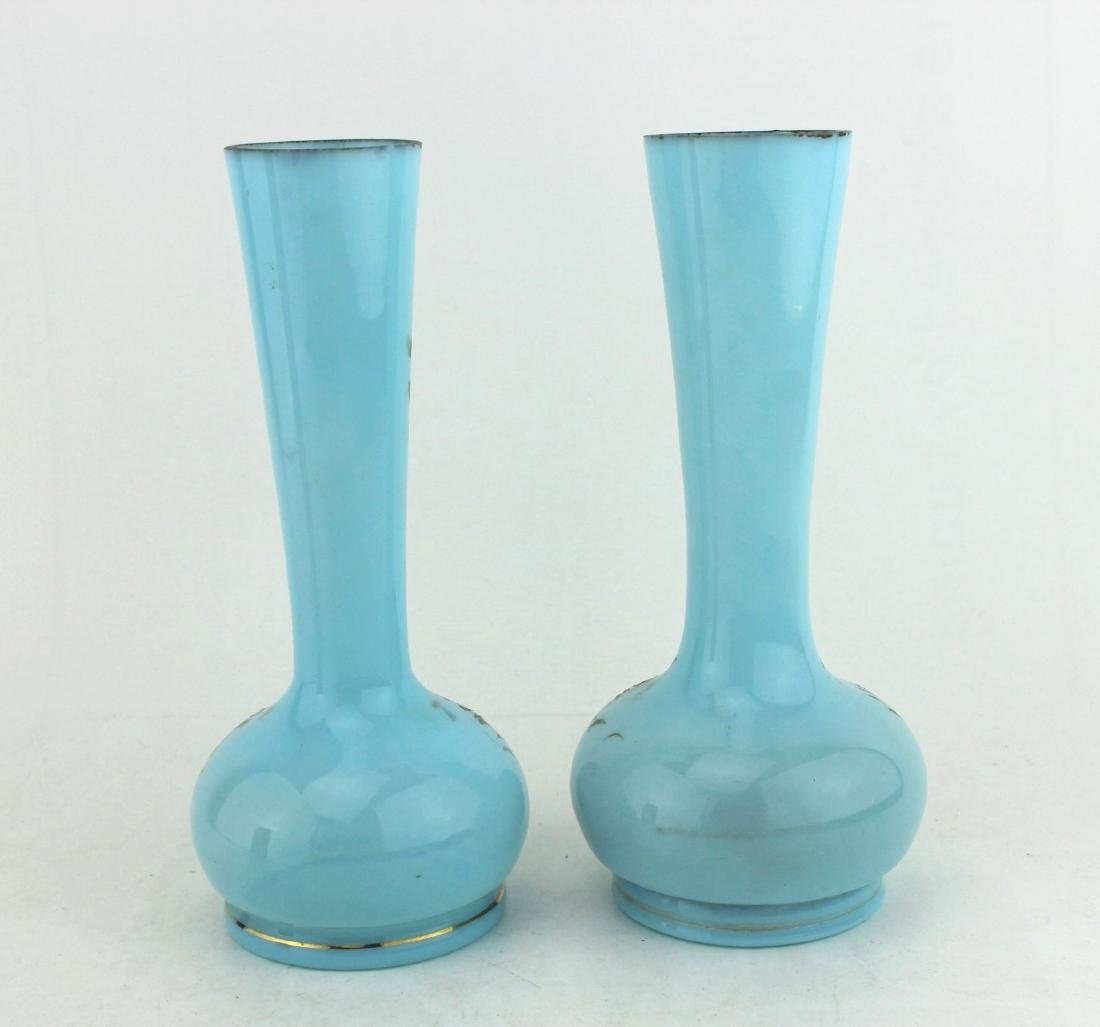 A PAIR OF 19TH C  HAND PAINTED GLASS VASES - 4