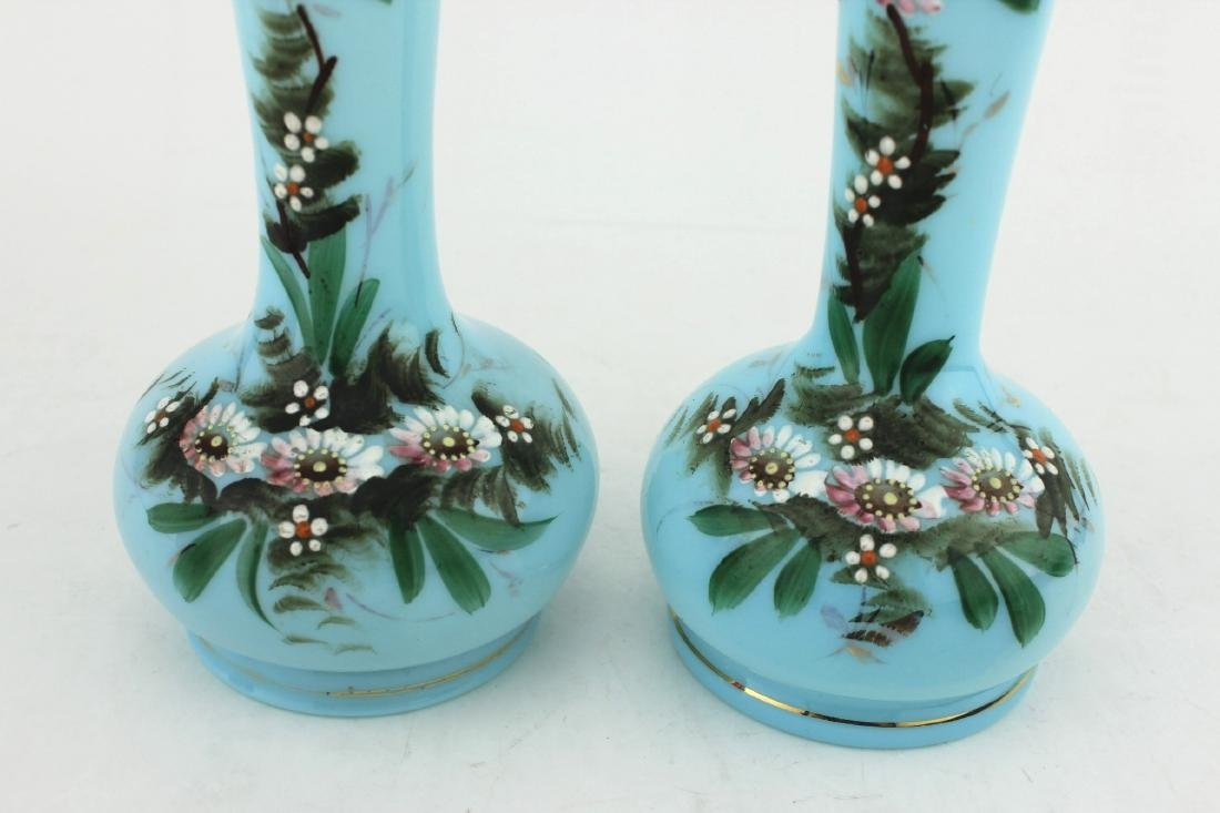 A PAIR OF 19TH C  HAND PAINTED GLASS VASES - 7