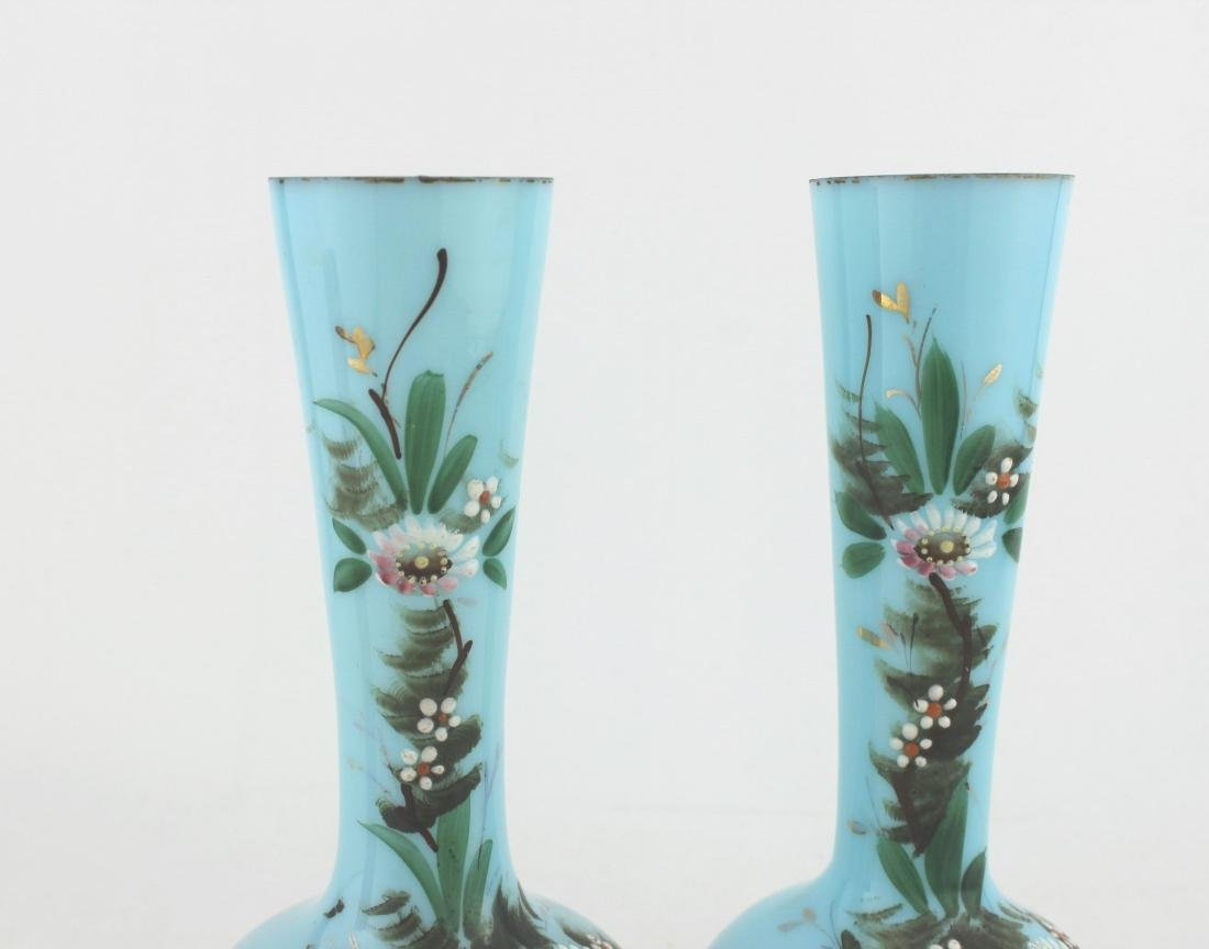 A PAIR OF 19TH C  HAND PAINTED GLASS VASES - 8