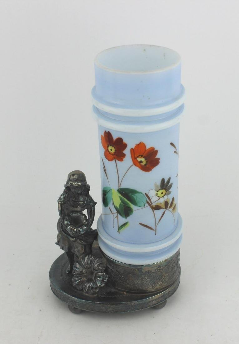 19th C HAND-PAINTED FLORAL GLASS CYLINDER VASE