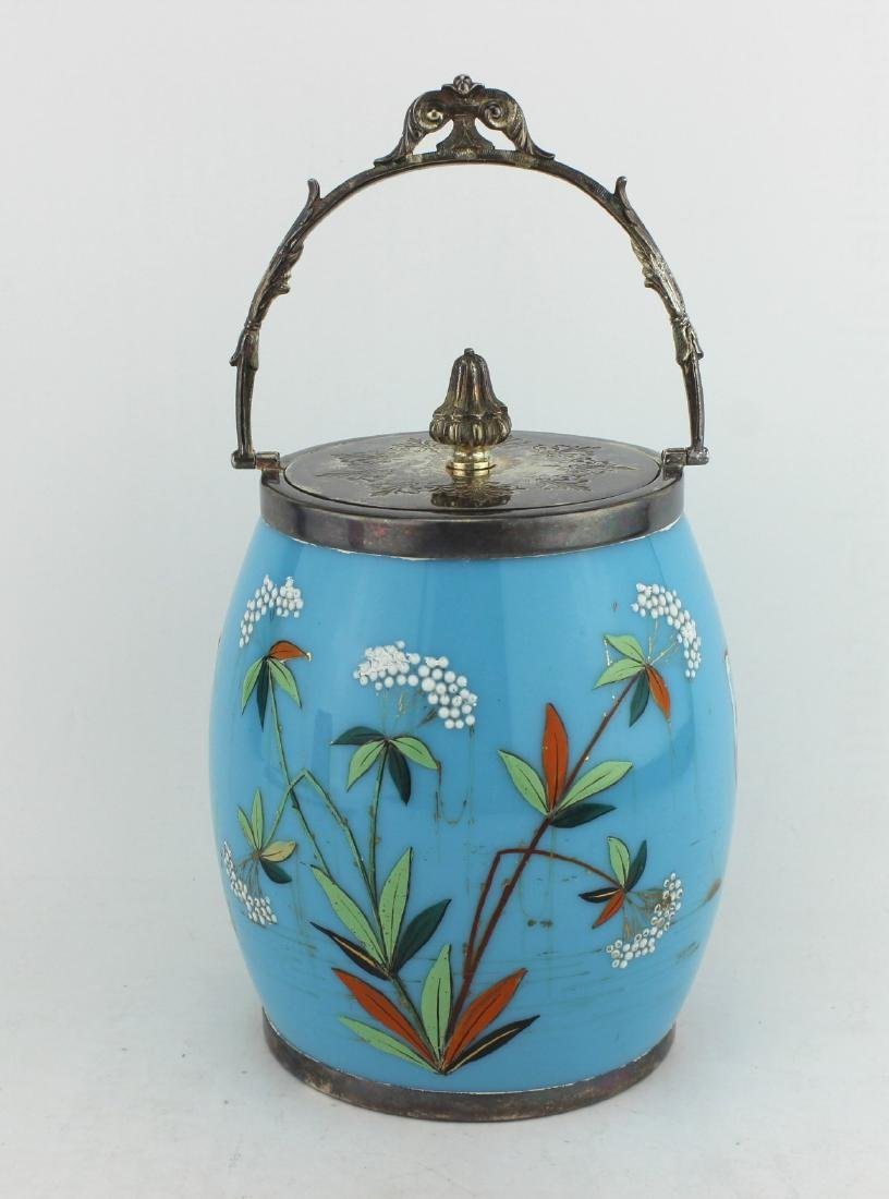 19TH C SILVER MOUNTED GLASS BISCUIT JAR