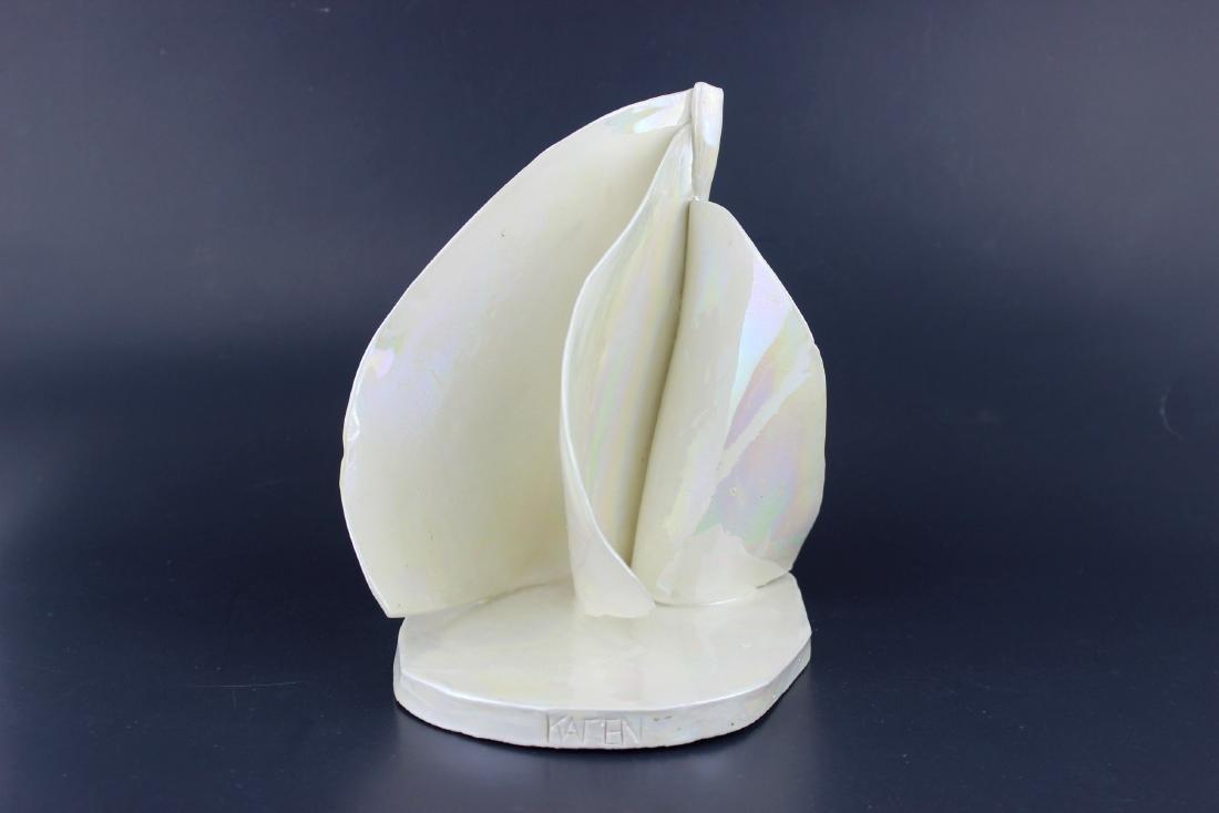 SIGNED WHITE PORCELAIN LEAF STUDIO ART