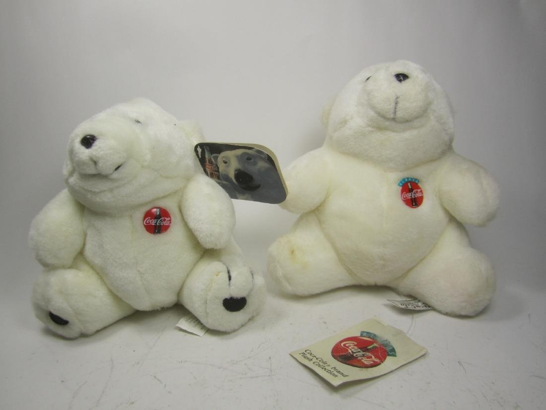 TWO COCA-COLA PLUSH POLAR BEARS