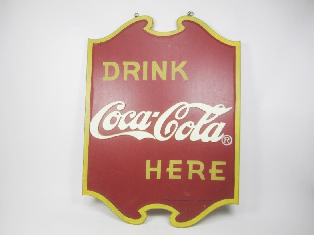 WOODEN COCA-COLA DOUBLE-SIDE SIGN.