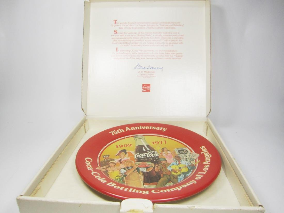 COCA-COLA CO. OF LA 75TH ANNIVERSARY PLATE