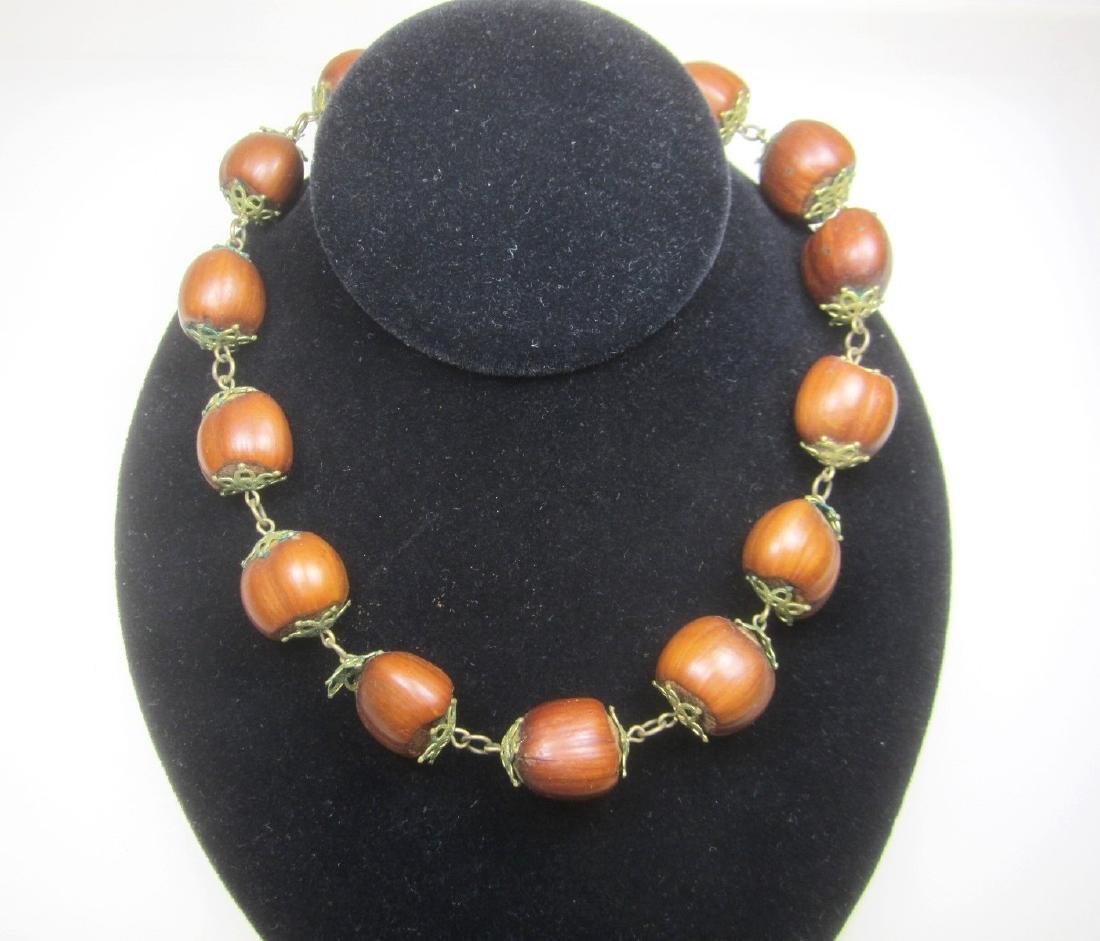 NATURAL NUT BEAD NECKLACE