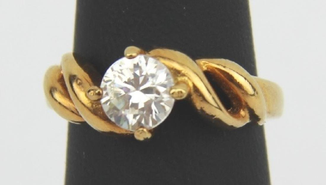 YELLOW GOLD PLATED SILVER CUBIC ZIRCONIA RING