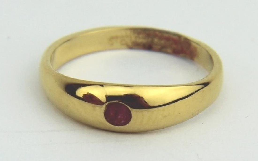 ROUND RUBY GOLD PLATED SILVER RING SIZE 5