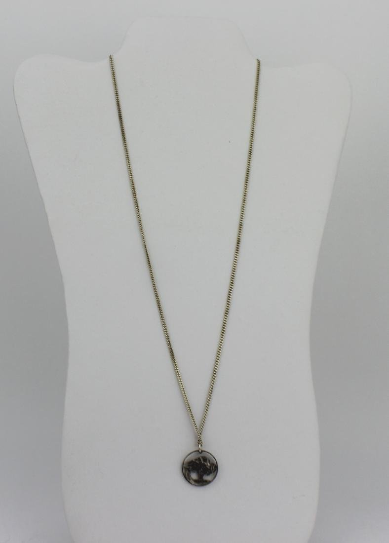 NICKEL SILVER NECKLACE WITH COIN PENDANT