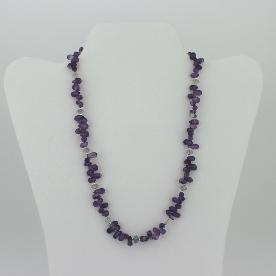 AMETHYST AND FLUORITE BEAD NECKLACE