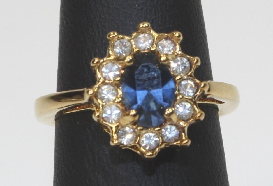 GOLD PLATED SILVER BLUE GEMSTONE RING