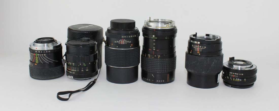 SIX VARIOUS CAMERA  LENSES