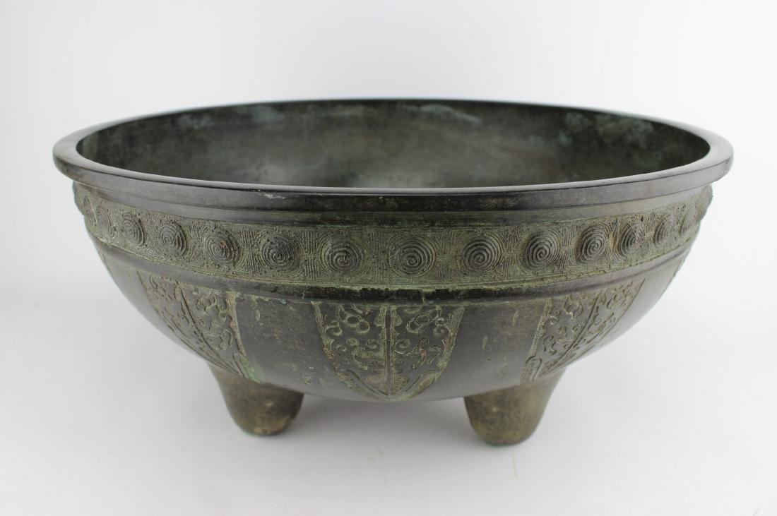 A LARGE CHINESE ARCHAIC STYLE BRONZE BOWL