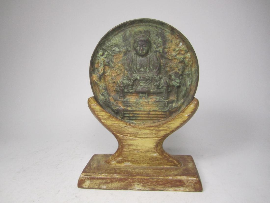 ANTIQUE CHINESE BRONZE BUDDHA MIRROR