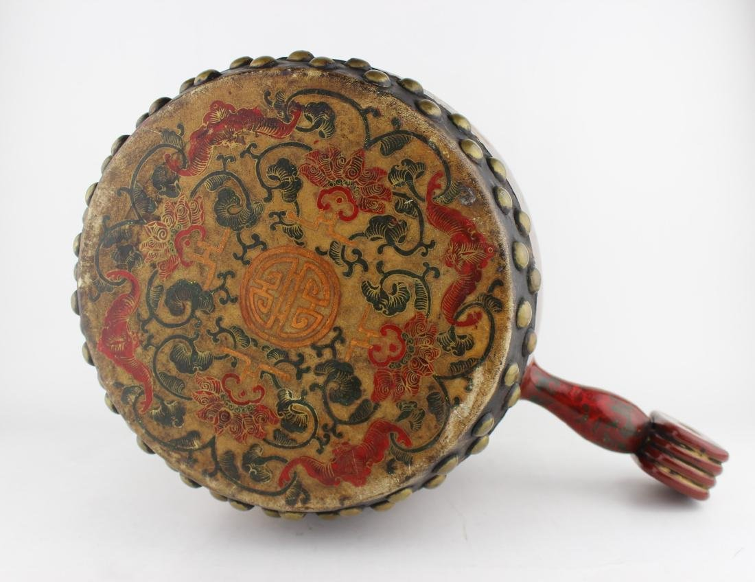 ANTIQUE CHINESE LACQUERED DRUM