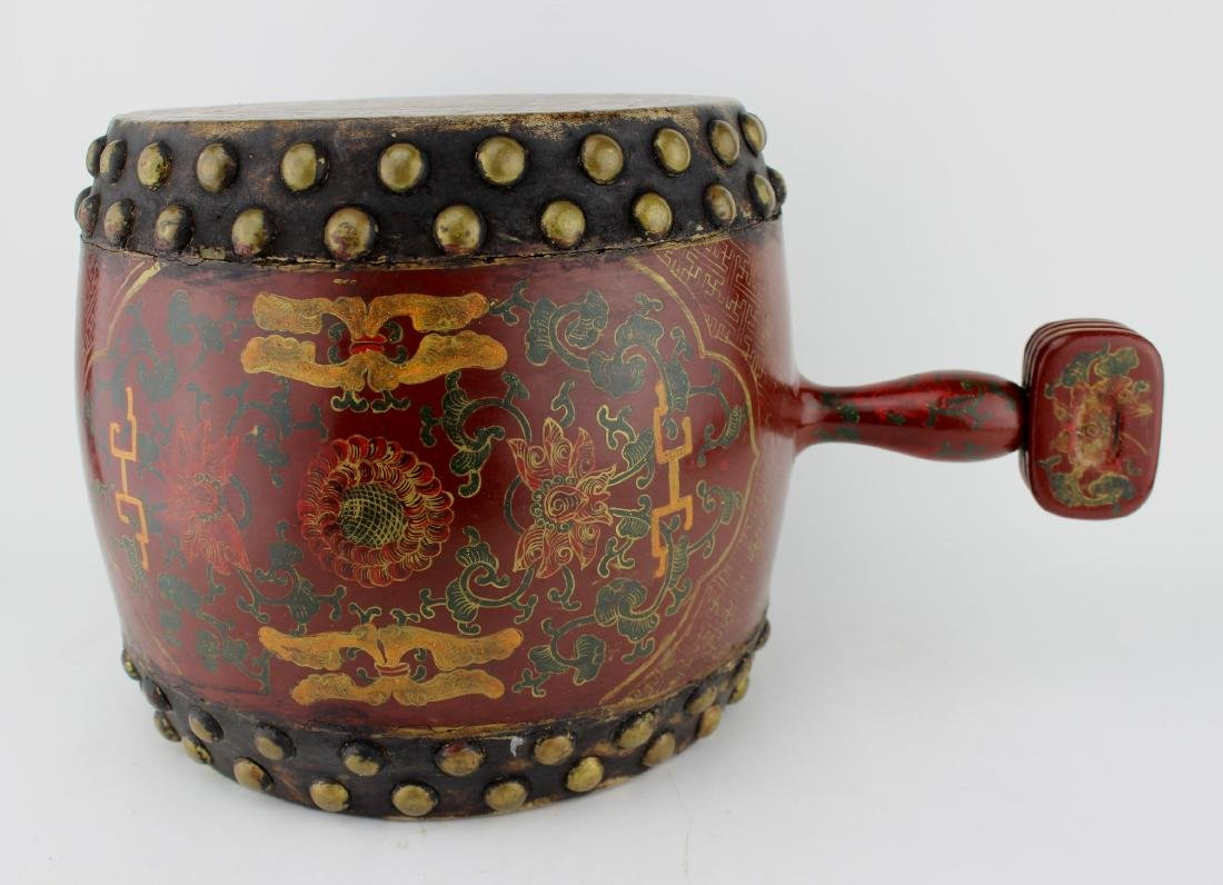 ANTIQUE CHINESE LACQUERED DRUM - 2