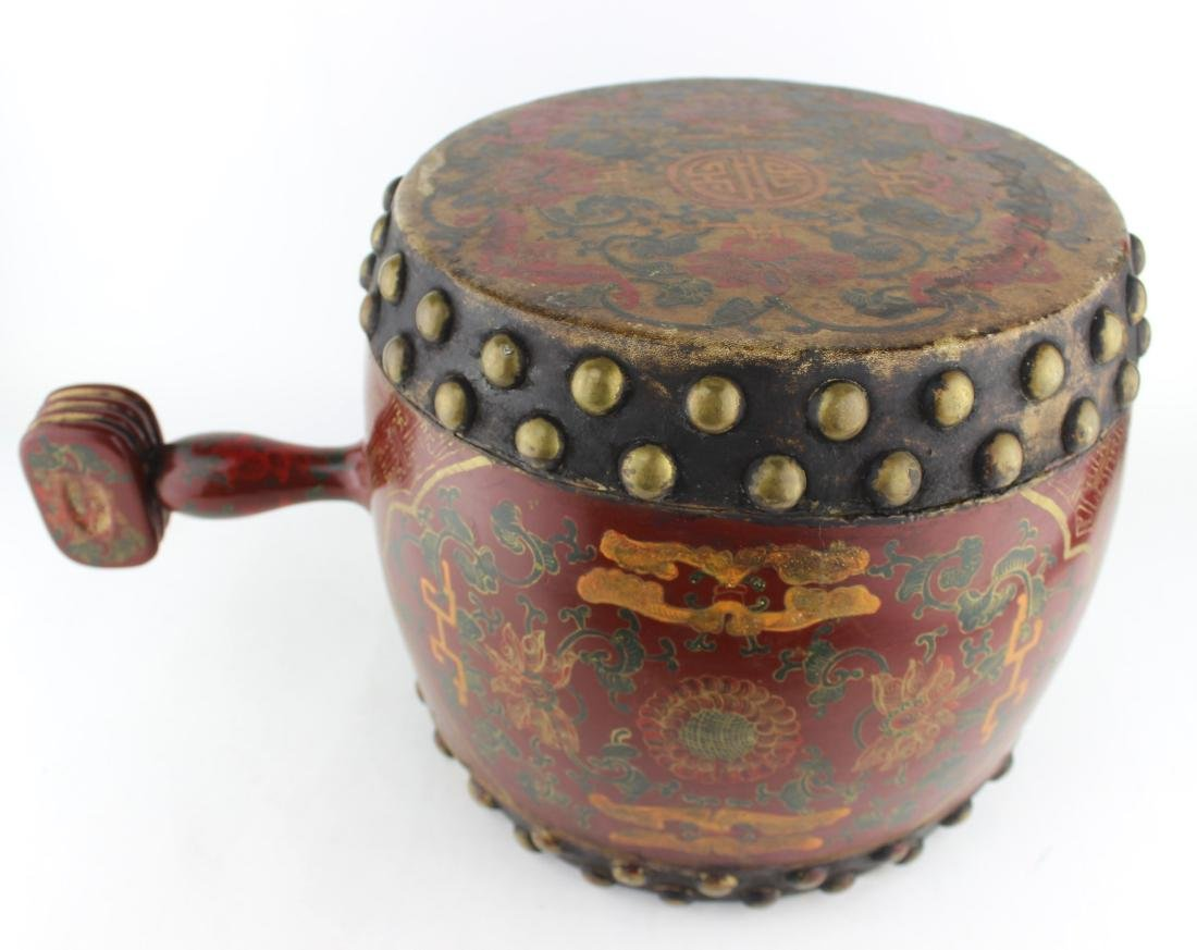 ANTIQUE CHINESE LACQUERED DRUM - 4