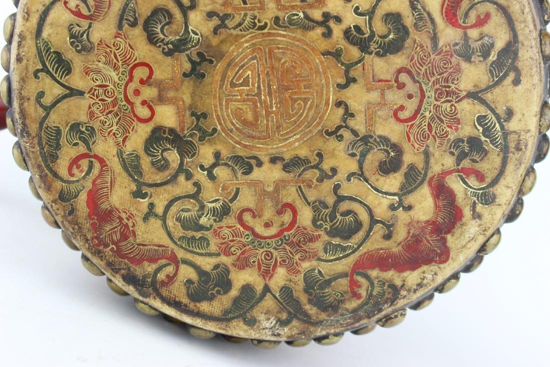 ANTIQUE CHINESE LACQUERED DRUM - 6