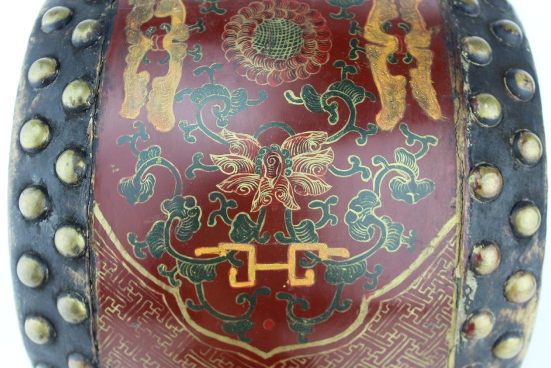 ANTIQUE CHINESE LACQUERED DRUM - 7
