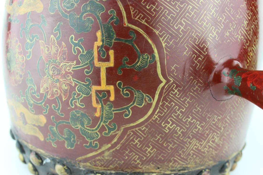 ANTIQUE CHINESE LACQUERED DRUM - 9