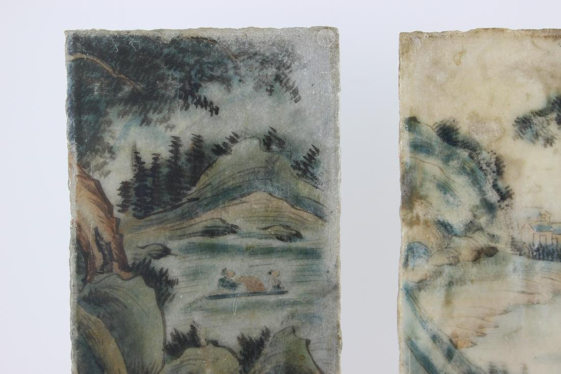 PAIR CHINESE PAINTINGS ON MARBLE PLAQUES - 10