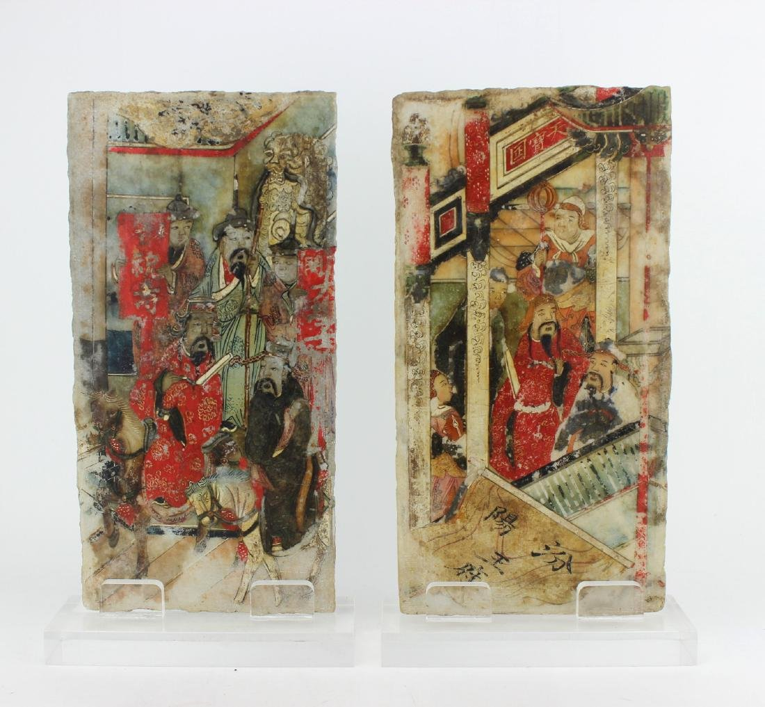 PAIR CHINESE PAINTINGS ON MARBLE PLAQUES