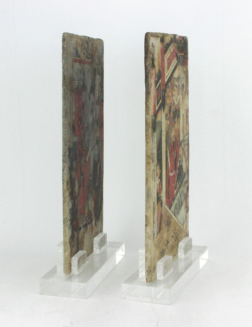 PAIR CHINESE PAINTINGS ON MARBLE PLAQUES - 2