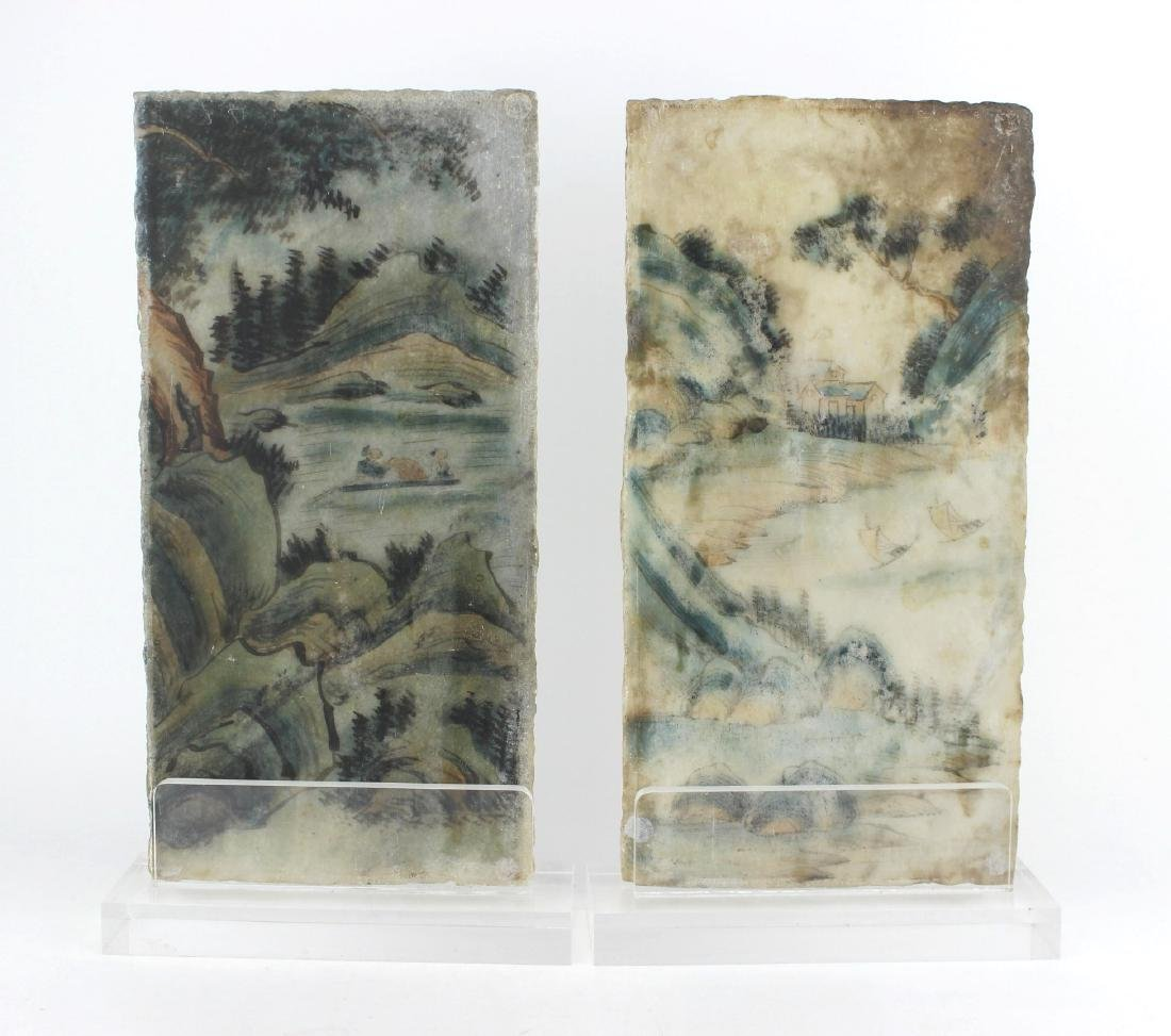 PAIR CHINESE PAINTINGS ON MARBLE PLAQUES - 3