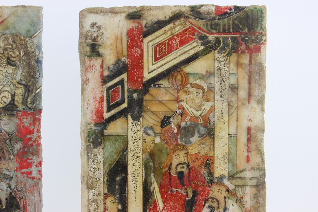 PAIR CHINESE PAINTINGS ON MARBLE PLAQUES - 4