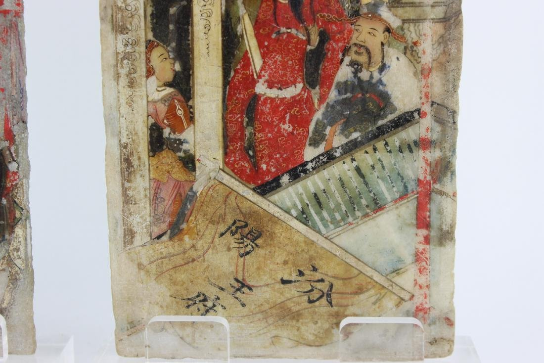 PAIR CHINESE PAINTINGS ON MARBLE PLAQUES - 5