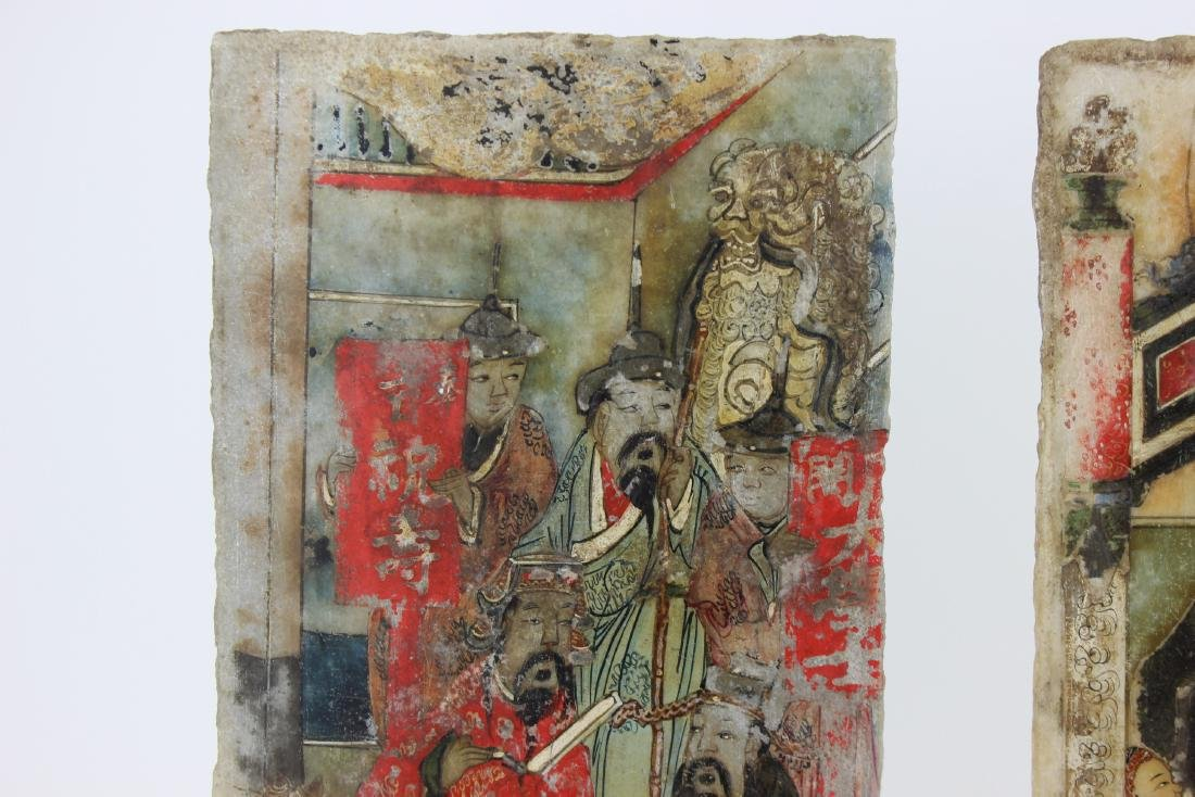 PAIR CHINESE PAINTINGS ON MARBLE PLAQUES - 6
