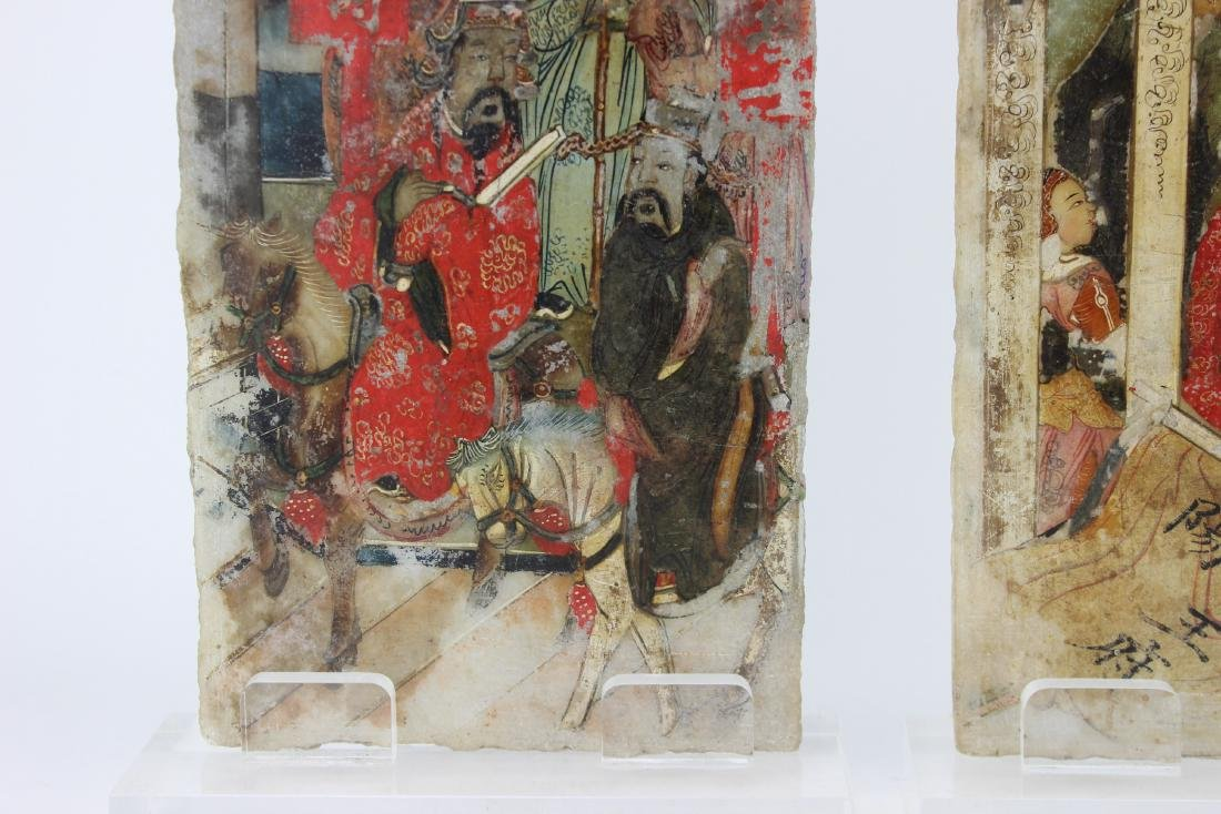 PAIR CHINESE PAINTINGS ON MARBLE PLAQUES - 7