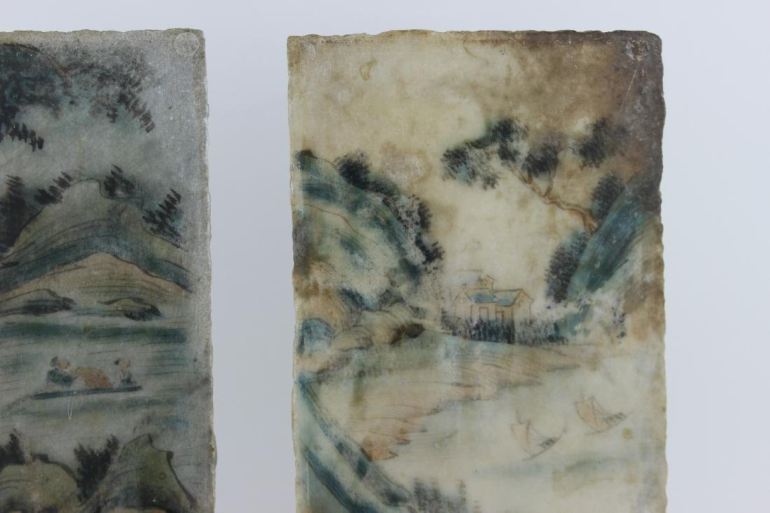 PAIR CHINESE PAINTINGS ON MARBLE PLAQUES - 8