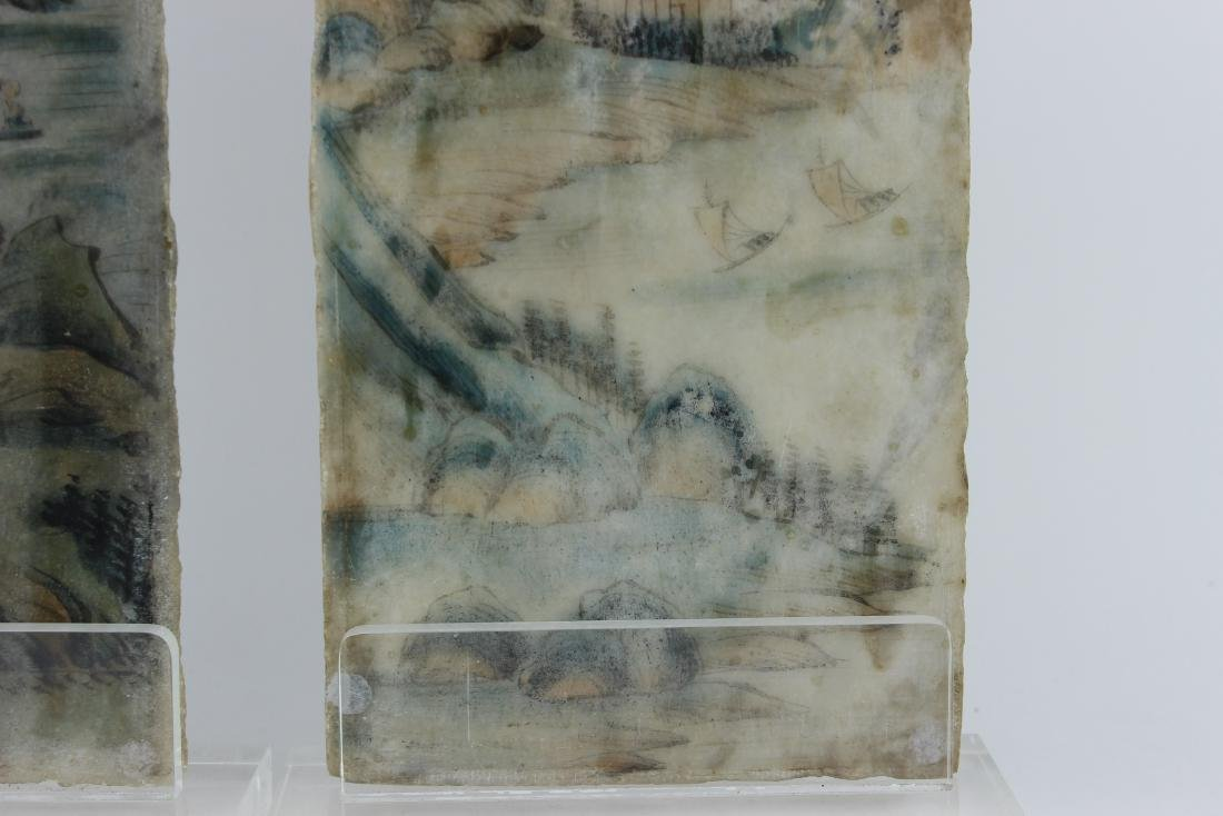 PAIR CHINESE PAINTINGS ON MARBLE PLAQUES - 9