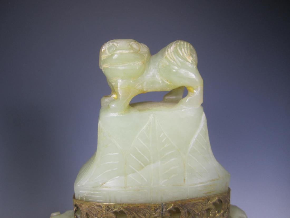 PAIR OF ANTIQUE CARVED CELADON JADE TABLE LAMPS - 10