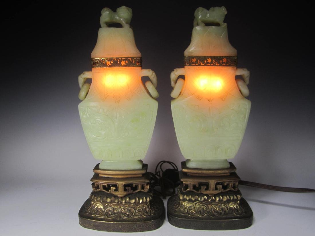 PAIR OF ANTIQUE CARVED CELADON JADE TABLE LAMPS