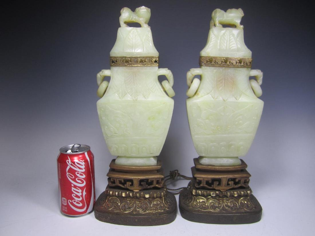 PAIR OF ANTIQUE CARVED CELADON JADE TABLE LAMPS - 2