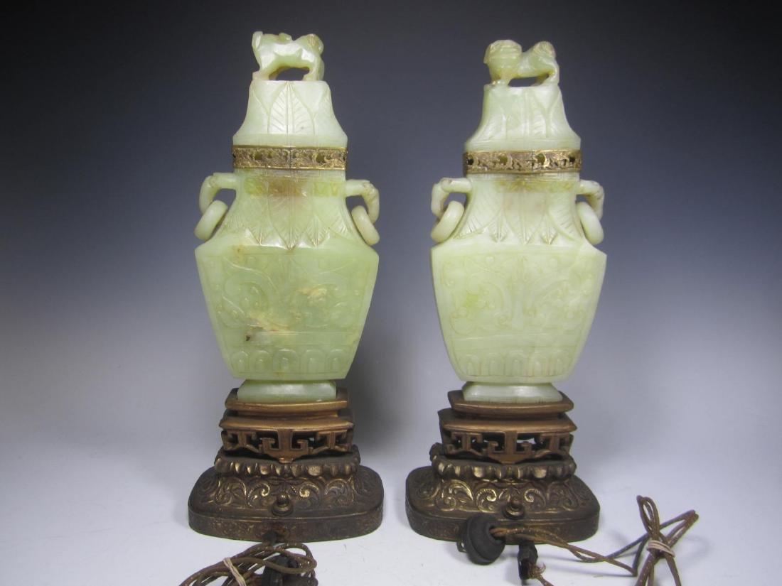 PAIR OF ANTIQUE CARVED CELADON JADE TABLE LAMPS - 3