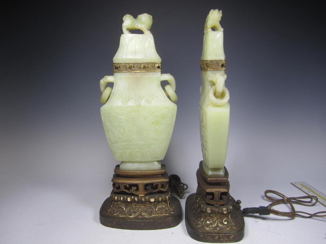 PAIR OF ANTIQUE CARVED CELADON JADE TABLE LAMPS - 4