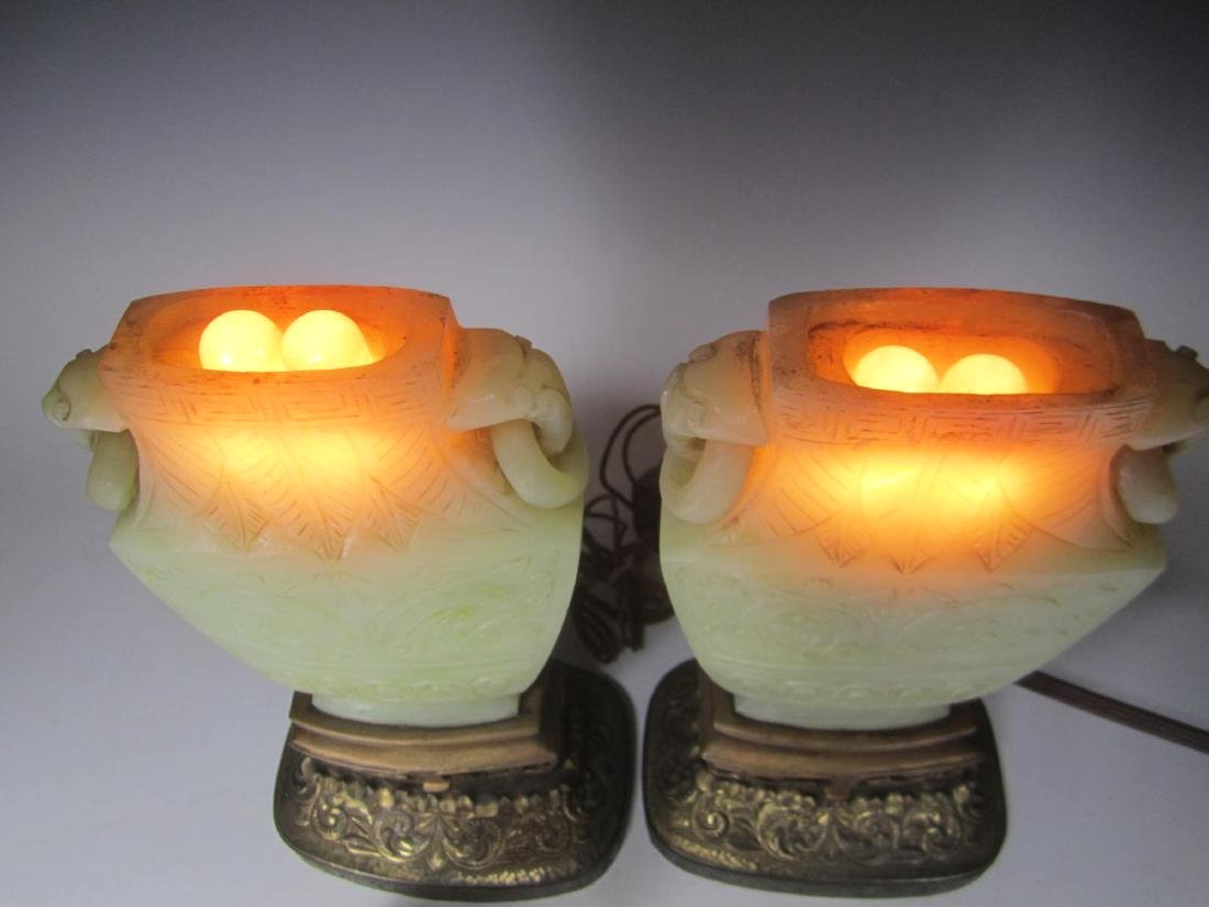 PAIR OF ANTIQUE CARVED CELADON JADE TABLE LAMPS - 5