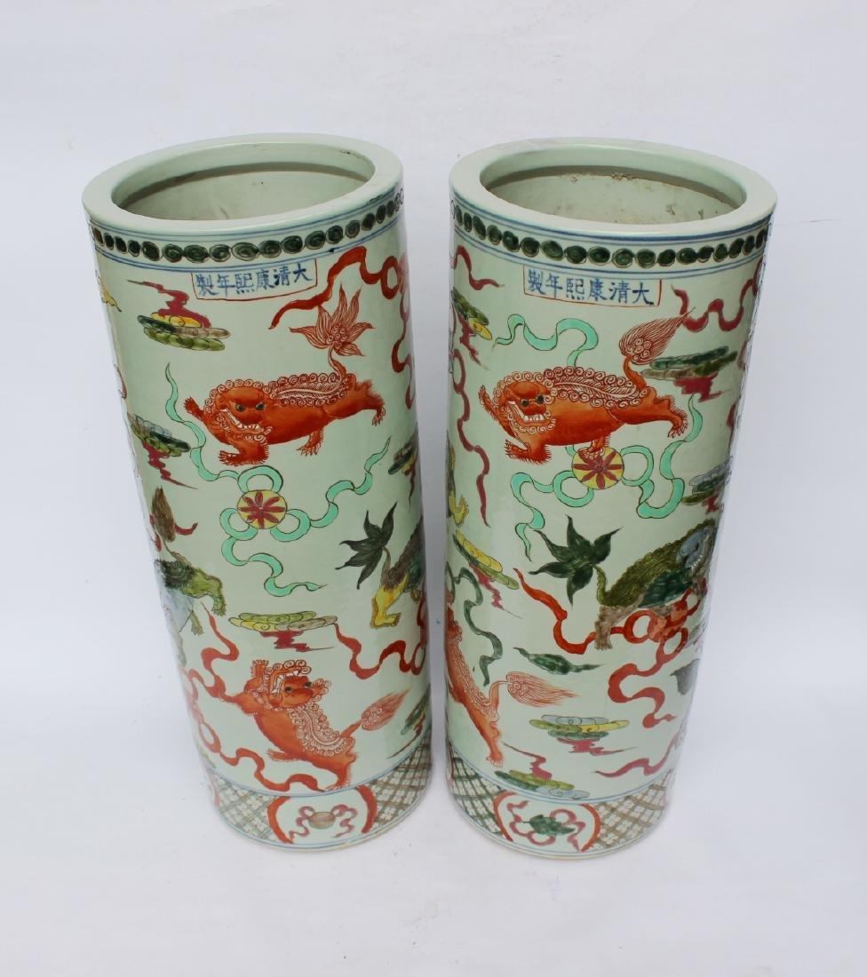 PAIR OF CHINESE FAMILLE VERTE UMBRELLA STANDS - 2
