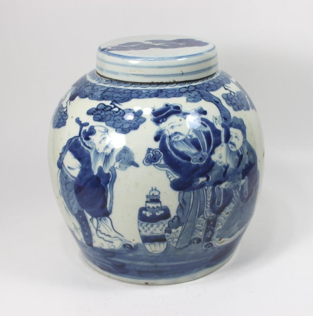 CHINESE BLUE & WHITE FIGURINES GINGER JAR W/ LID