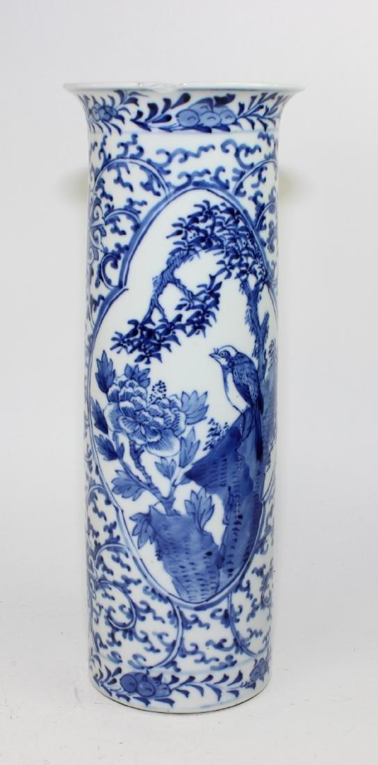 CHINESE BLUE & WHITE CYLINDER FORM VASE - 2