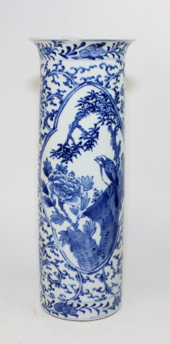 CHINESE BLUE & WHITE CYLINDER FORM VASE - 2