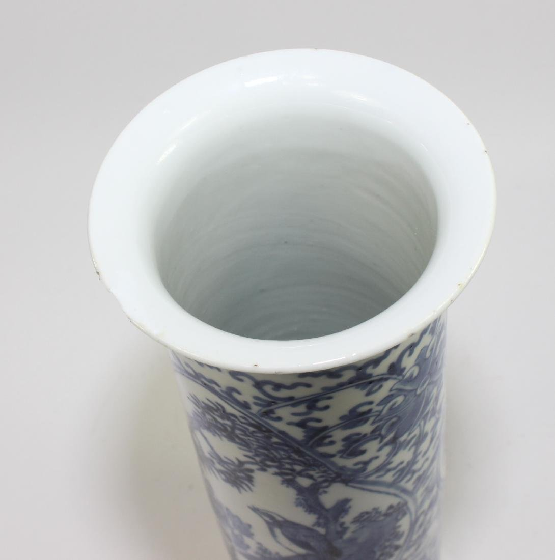 CHINESE BLUE & WHITE CYLINDER FORM VASE - 6