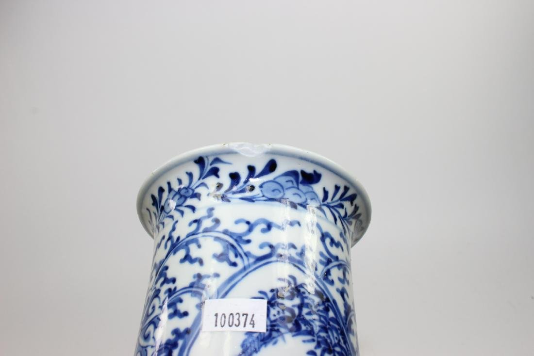 CHINESE BLUE & WHITE CYLINDER FORM VASE - 7