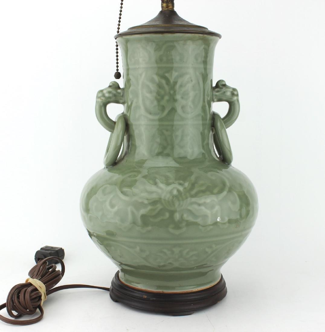 CHINESE CELADON DOUBLE-EAR VASE TABLELAMP - 4