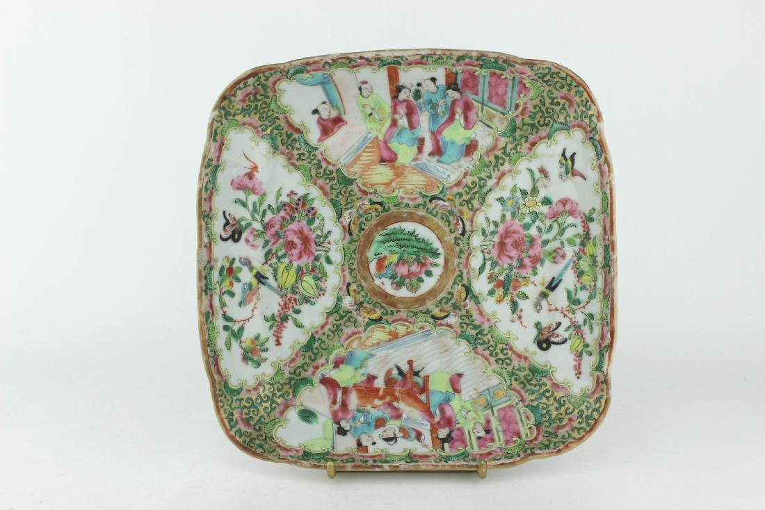 CHINESE ROSE MEDALLION SQUARE SERVING DISH